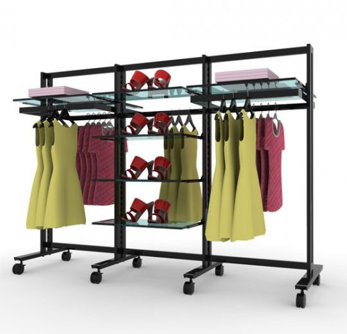 Clothing and Shelving Stand for Eight Shelves and Five Hanging Rails, Black Brown, Three Sections