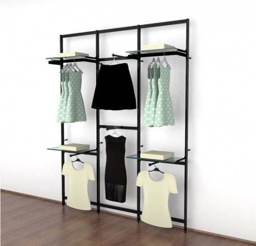 Clothing Display for Four Shelves with Four Faceouts and Two Hanging Rails, Black Brown, Three Sections  - Vertik