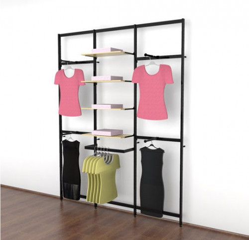Clothing Display for Eight Shelves with Four Faceouts and One Hanging Rail, Black Brown, Three Sections - Vertik