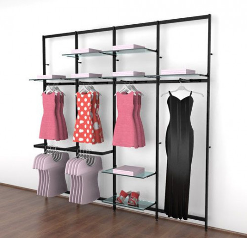 Clothing Display for Eight Shelves with Four Faceouts and Four Hanging Rails, Black Brown, Four Sections - Vertik