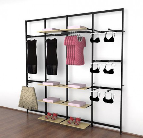 Clothing Display for Eight Shelves with Nine Faceouts and One Hanging Rail, Black Brown, Four Sections - Vertik