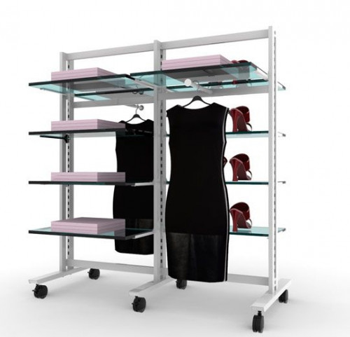 Clothing and Shelving Stand for 10 Shelves and 2 Faceouts, White, 2 Sections
