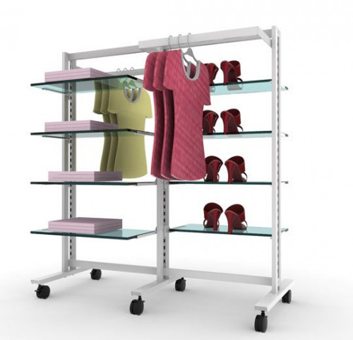 Clothing and Shelving Stand for Eight Shelves and Two Hanging Rails, White, Two Sections