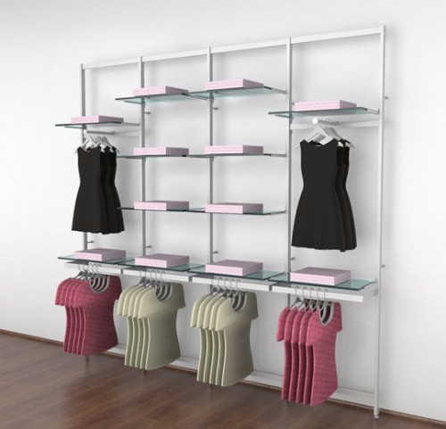 Clothing Display for Twelve Shelves with Two Faceouts and Four Hanging Rail, White, Four Sections - Vertik