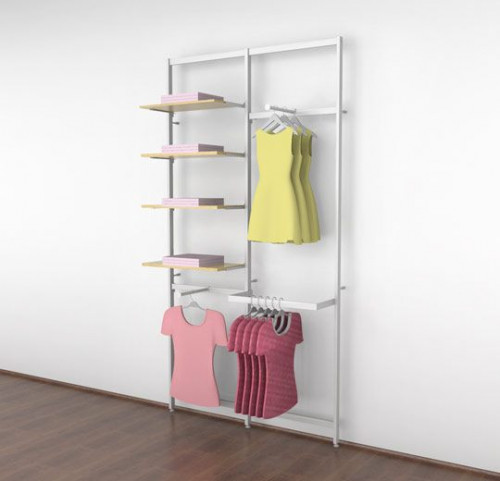 Clothing Display for Four Shelves with Two Faceouts and One Hanging Rail, White, Two Sections - Vertik