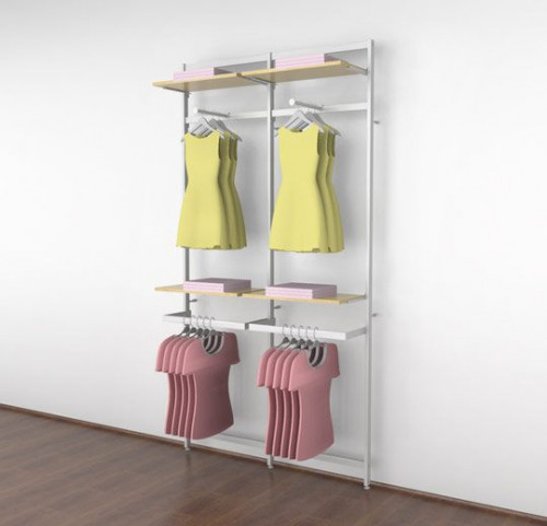 Clothing Display for Four Shelves with Two Faceouts and Two Hanging Rails, White Two Sections - Vertik