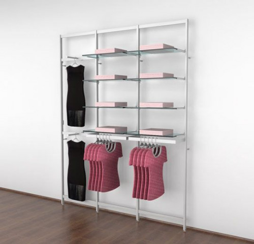 Clothing Display for Eight Shelves with Two Faceouts and Two Hanging Rails, White - Vertik