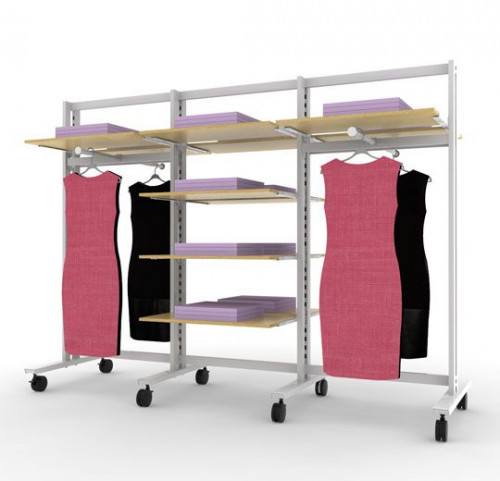 Vertik - Stand Clothing and Shelving  Kit, 12 Shleves, 4 Faceout