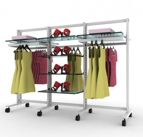 Clothing and Shelving Stand for 8 Shelves and 5 Hanging Rails, White, 3 Sections