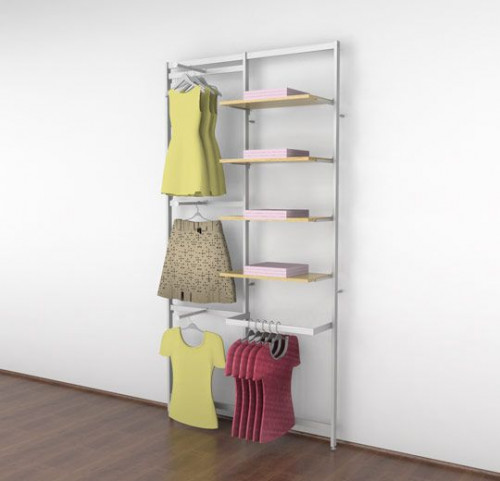 Clothing Display for Four Shelves with Three Faceouts and One Hanging Rail, White - Vertik