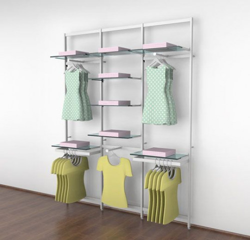 Clothing Display for Eight Shelves with Three Faceouts and Two Hanging Rails, White, Three Sections - Vertik