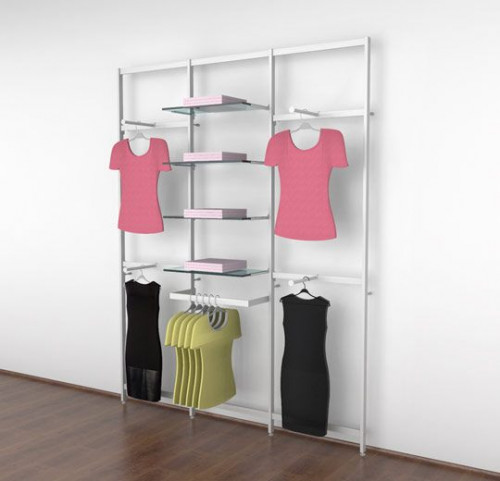 Clothing Display for Eight Shelves with Four Faceouts and One Hanging Rail, White, Three Sections - Vertik