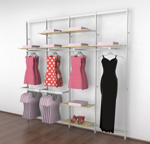 Vertik - Clothing and Shelving  Kit, White 4 sections of 24""