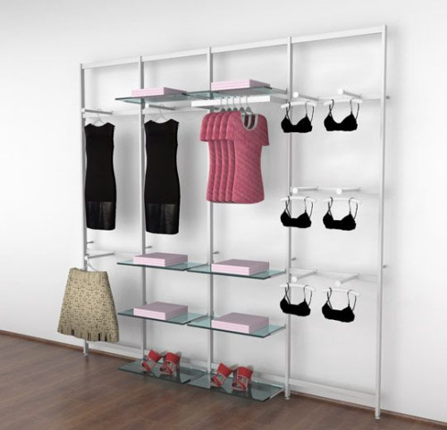 Clothing Display for Eight Shelves with Nine Faceouts and One Hanging Rail, White, Four Sections - Vertik